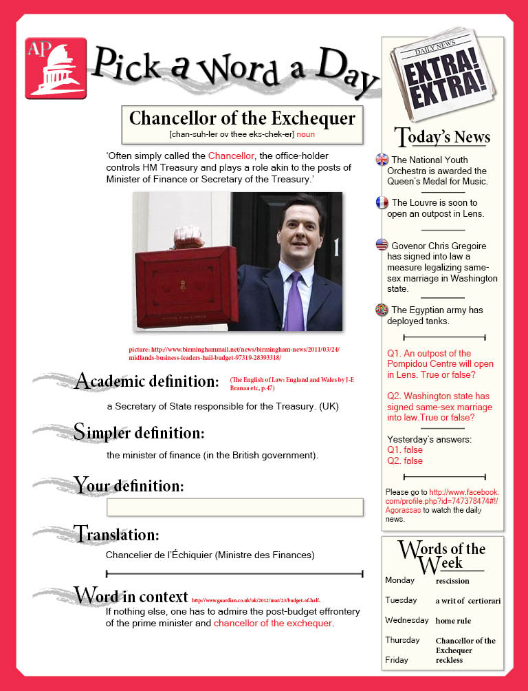 Day 39 - chancellor of the exchequer